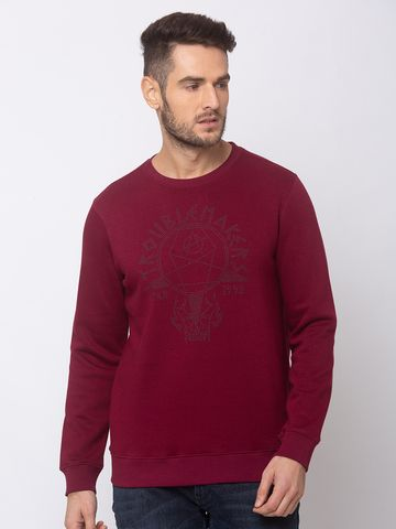 spykar | SPYKAR Wine BLENDED SLIM FIT SWEAT SHIRT