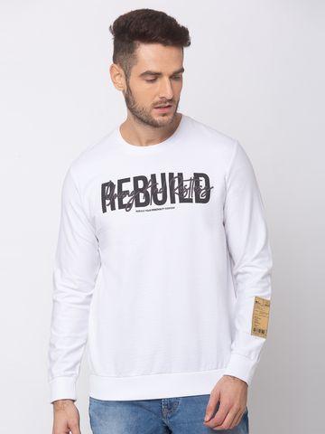 spykar | spykar White Blended Slim Fit Sweat Shirt