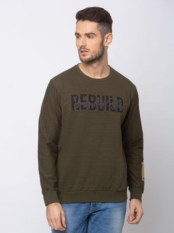 spykar | SPYKAR RIFLE GREEN BLENDED SLIM FIT SWEAT SHIRT