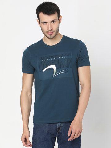 spykar | Spykar Blue Cotton T-Shirts