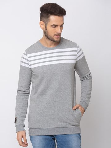 spykar | SPYKAR GREY MELANGE WHITE BLENDED SLIM FIT SWEAT SHIRT