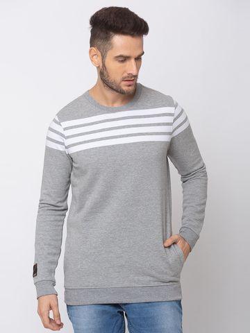 spykar | spykar Grey Melange White Blended Slim Fit Sweat Shirt