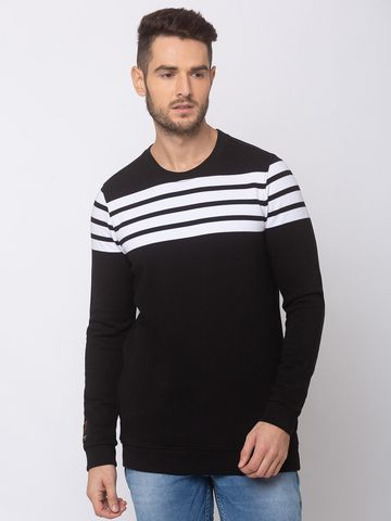 spykar | SPYKAR BLACK WHITE BLENDED SLIM FIT SWEAT SHIRT