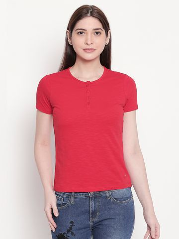 spykar | Spykar Solid Henley Neck Red Top