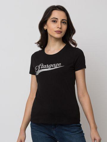 spykar | Spykar Cotton Black T-Shirts