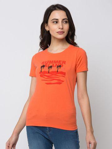 Spykar | spykar Orange Lycra Jersey Regular Length T Shirt