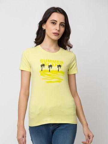 Spykar | spykar Lemon Yellow Lycra Jersey Regular Length T Shirt