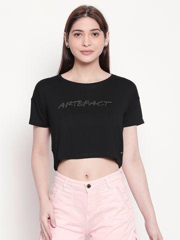 Spykar | spykar Printed Black Crop Fit Top