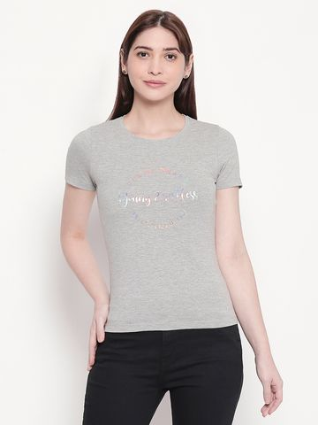 Spykar   spykar Printed Grey Melange Regular Fit Top