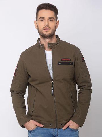 Spykar | spykar Olive Cotton Straight Fit Jacket