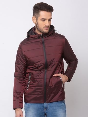 spykar | SPYKAR Wine NYLON STRAIGHT FIT JACKETS