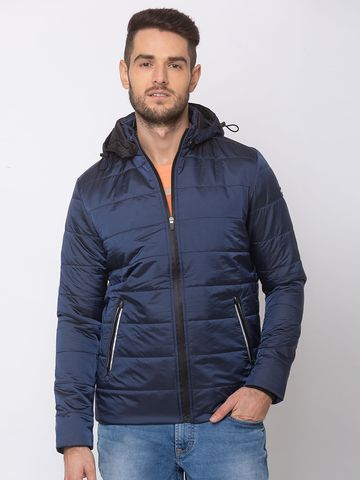spykar | SPYKAR CARBON BLUE NYLON STRAIGHT FIT JACKETS