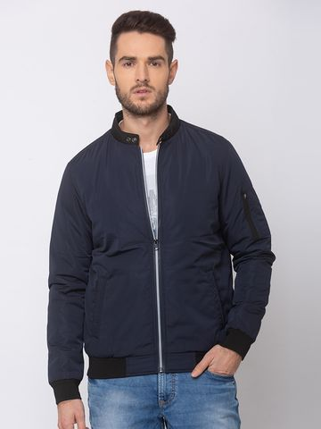 spykar | SPYKAR Navy POLYESTER STRAIGHT FIT JACKETS