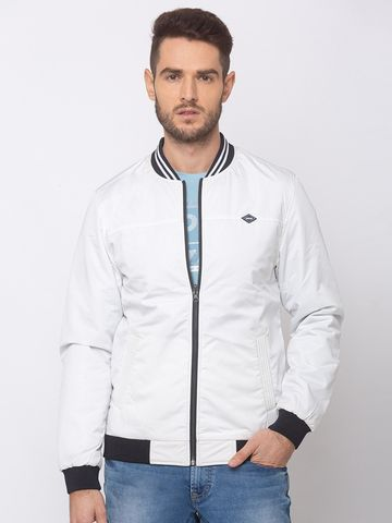 spykar | SPYKAR White POLYESTER STRAIGHT FIT JACKETS