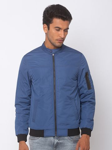 spykar | SPYKAR Airforce Blue POLYESTER STRAIGHT FIT JACKETS