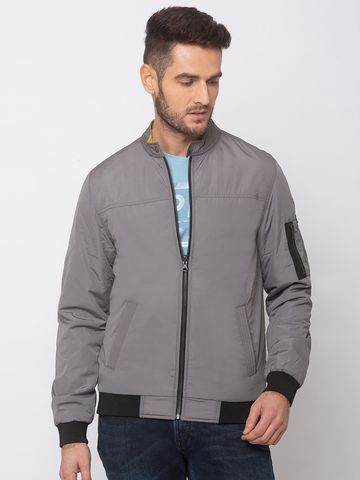 spykar | spykar Grey Polyester Straight Fit Jacket