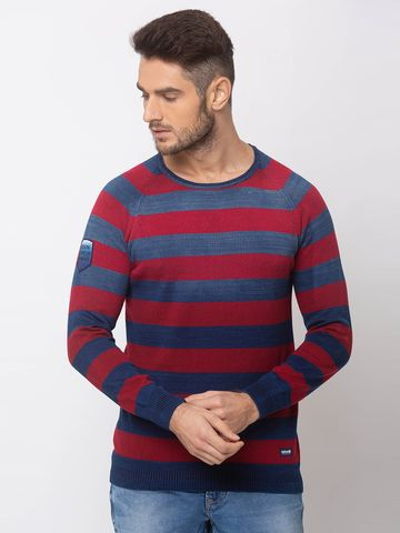 spykar | SPYKAR INDIGO BLUE RED COTTON REGULAR FIT SWEATER