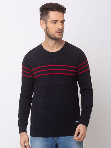 spykar | SPYKAR NAVY BLUE RED COTTON REGULAR FIT SWEATER
