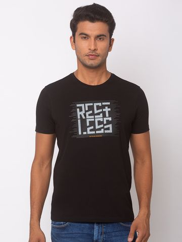 spykar | SPYKAR Black BLENDED SLIM FIT T SHIRTS