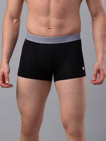 spykar | Underjeans Black-Grey Cotton Blend Trunks