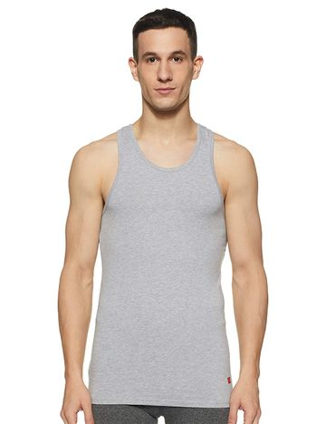 spykar | UNDERJEANS GREY COTTON LYCRA VEST (Round Neck)