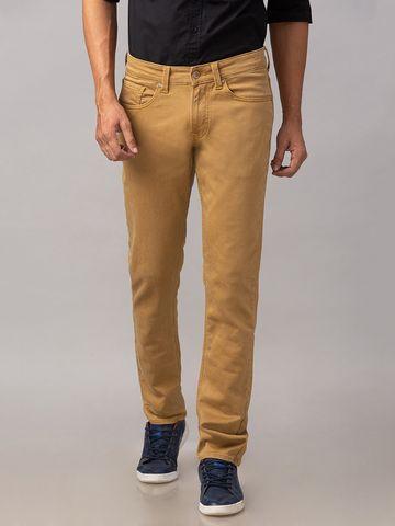 Spykar | Spykar Khaki Cotton Low Rise Slim Fit Narrow Leg Regular Length Jeans (Skinny)
