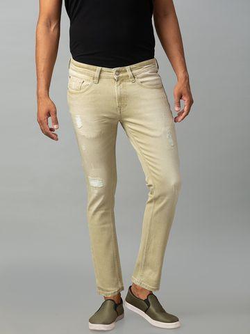 Spykar | Spykar Beige Cotton Mid Rise Slim Fit Ankle Length Jeans (Kano)