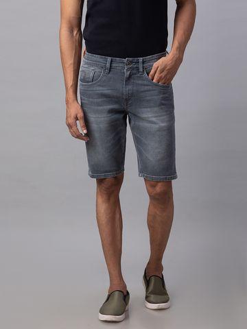 spykar | Spykar Grey Cotton Slim Fit Shorts