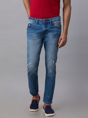 Spykar | Spykar Blue Cotton Mid Rise Slim Fit Tapered Leg Ankle Length Jeans (Kano)