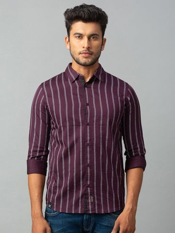 spykar | spykar Red Cotton Slim Fit Shirt (Slim)