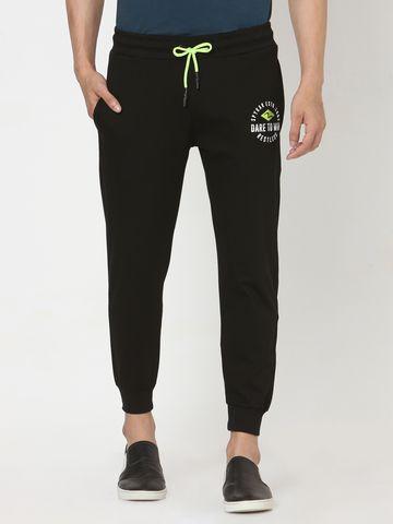 spykar | Spykar Black Cotton Relaxed Trackpants