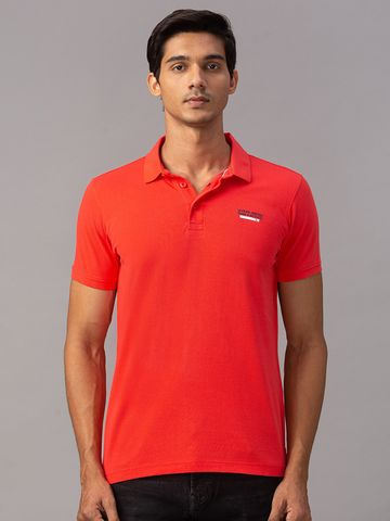 spykar | spykar Orange Cotton Slim Fit T-Shirt (Slim)