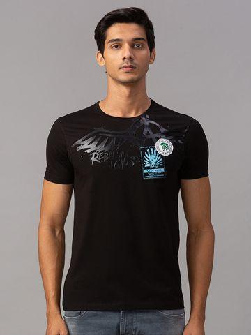 spykar | Spykar Black Cotton Slim Fit T-Shirts (Slim)