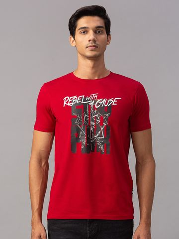 spykar | Spykar Red Cotton Slim Fit T-Shirts (Slim)