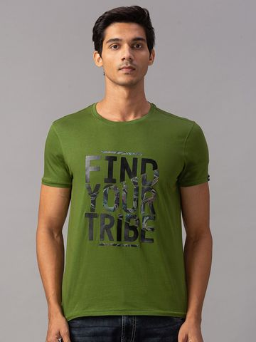 spykar | Spykar Green Cotton Slim Fit T-Shirts (Slim)