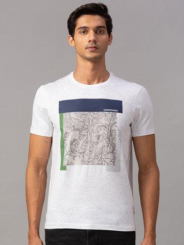 spykar | Spykar Grey Cotton Slim Fit T-Shirts (Slim)