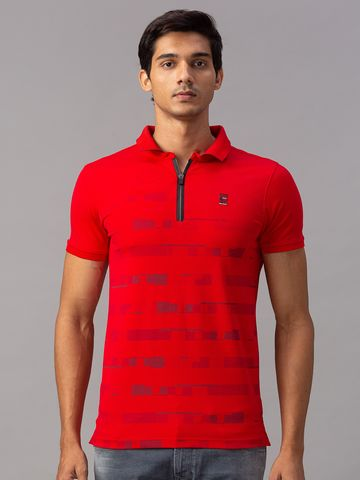 spykar | spykar Red Cotton Slim Fit T-Shirt (Slim)