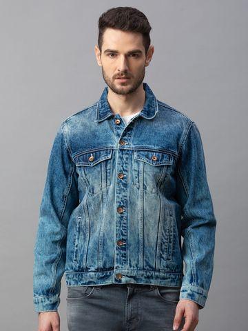 Spykar | spykar Blue Cotton Regular Fit Jackets (Regular)