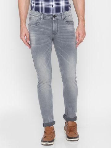 Spykar | Spykar Grey Cotton Men Jeans (SKINNY)