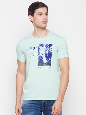 Spykar | Spykar Green Cotton Men T-Shirt