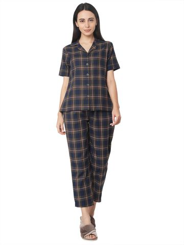 Smarty Pants | Smarty Pants women's cotton green & blue checkered nightsuit