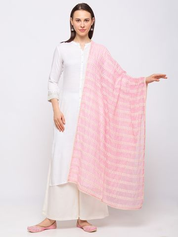 Ethnicity | Ethnicity Cotton Blend Straight  Women Pink Dupatta