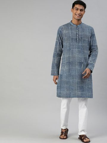 The Bear House | Men's Organic Block Print Indigo Kurta