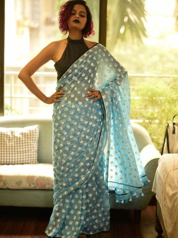 SATIMA | Satima Woman'S Blue Linen  Printed  Saree
