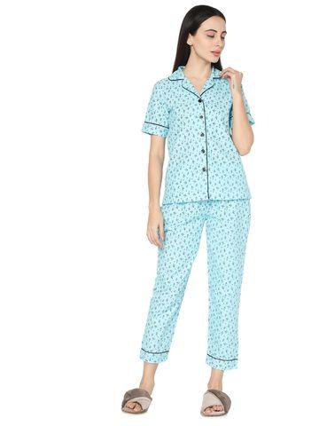 Smarty Pants   Pastel blue cotton floral print night suit pair