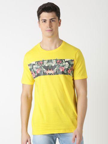 Blue Saint | Blue Saint Men's Printed Yellow T-Shirt