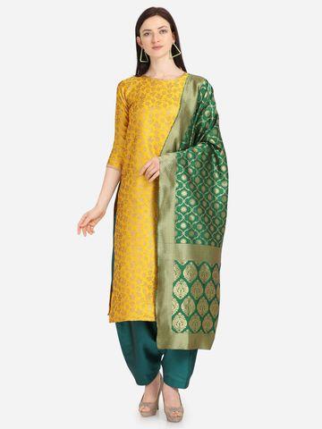 SATIMA | Yellow Weaving Jaquard Silk Dress Material