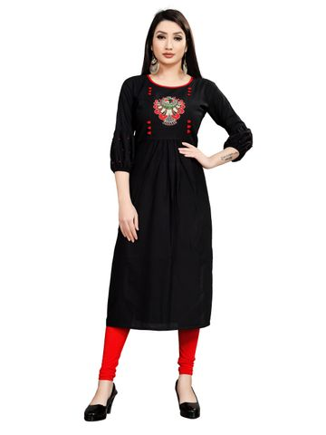 SATIMA | Women's Black Flared Embroidered Rayon Kurti