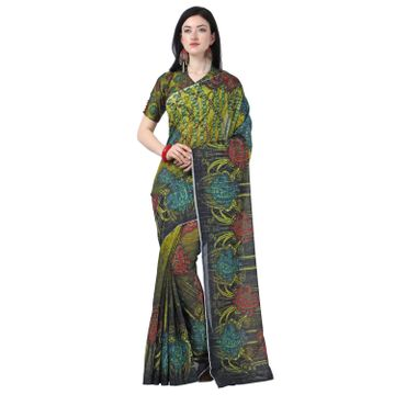 SATIMA | Satima MustardLinen CottonFlower Print Saree