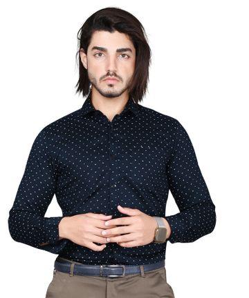 5th Anfold | Fifth Anfold Mens Polka Printed formal Pure Cotton Full Sleev Navy Blue Shirt